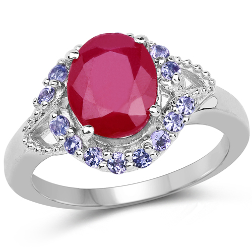 4.03 Carat Genuine Glass Filled Ruby & Tanzanite .925 Sterling Silver Ring