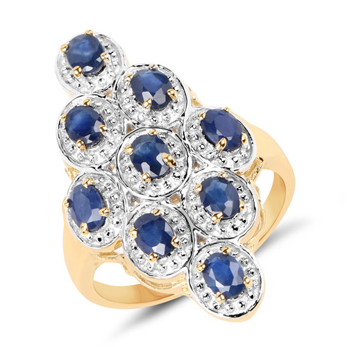 Sapphire-14K Yellow Gold Plated 1.98 Carat Genuine Blue Sapphire .925 Sterling Silver Ring
