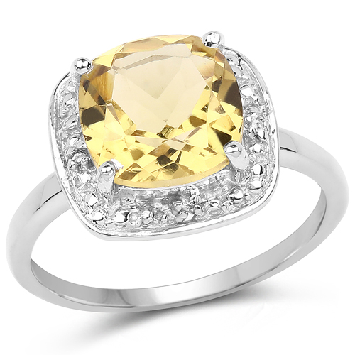 Rings-2.77 Carat Genuine Champagne Quartz & White Topaz .925 Sterling Silver Ring