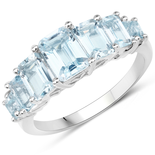 Rings-3.45 Carat Genuine Blue Topaz .925 Sterling Silver Ring