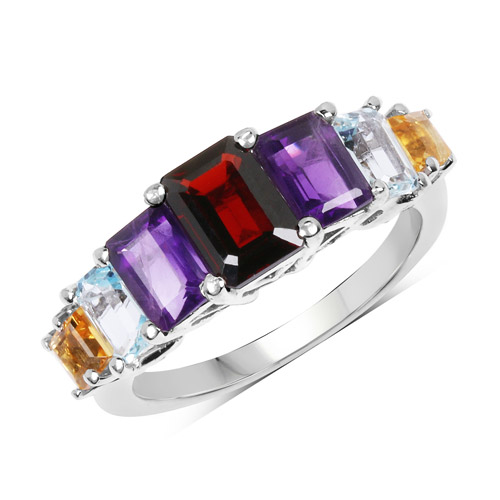 Garnet-3.14 Carat Genuine Multi Stone .925 Sterling Silver Ring