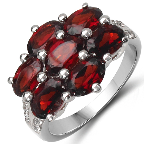 Garnet-4.28 Carat Genuine Garnet & White Topaz .925 Sterling Silver Ring