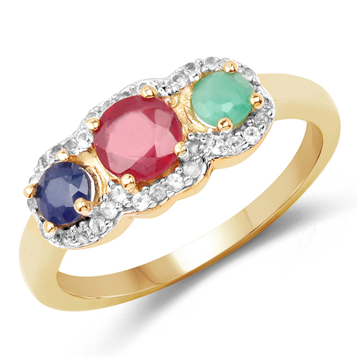 Ruby-14K Yellow Gold Plated 1.16 Carat Genuine Multi Stone .925 Sterling Silver Ring