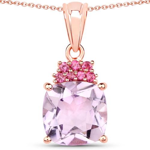 18K Rose Gold Plated 16.35 Carat Genuine Pink Amethyst and Rhodolite .925 Sterling Silver 3 Piece Jewelry Set (Ring, Earrings, and Pendant w/ Chain)