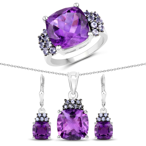 Amethyst-16.39 Carat Genuine Amethyst and Tanzanite .925 Sterling Silver 3 Piece Jewelry Set (Ring, Earrings, and Pendant w/ Chain)