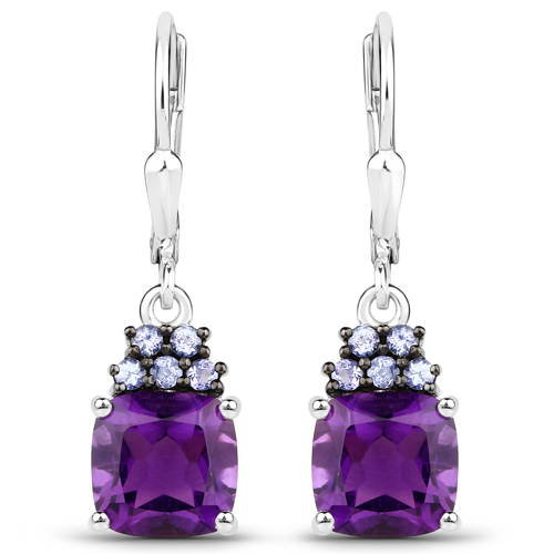 16.39 Carat Genuine Amethyst and Tanzanite .925 Sterling Silver 3 Piece Jewelry Set (Ring, Earrings, and Pendant w/ Chain)