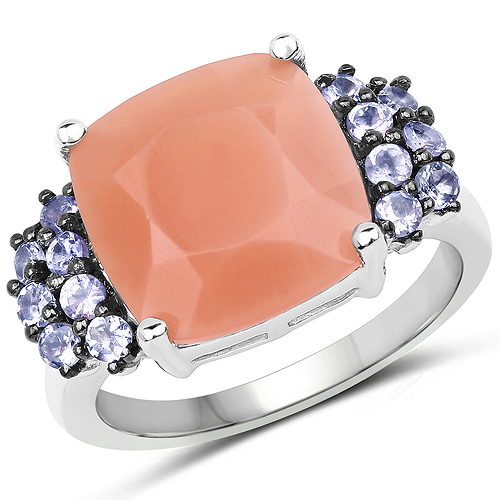 Rings-6.18 Carat Genuine Peach Moonstone and Tanzanite .925 Sterling Silver Ring