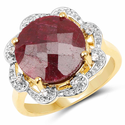 Ruby-14K Yellow Gold Plated 10.18 Carat Dyed Ruby & White Topaz .925 Sterling Silver Ring