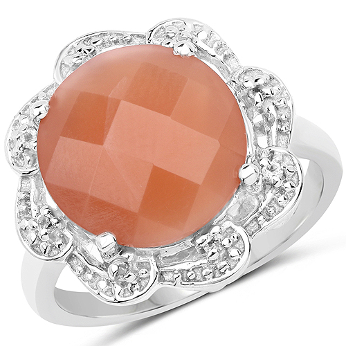 Rings-5.68 Carat Genuine Peach Moonstone and White Topaz .925 Sterling Silver Ring