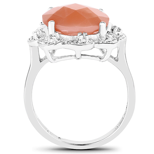 5.68 Carat Genuine Peach Moonstone and White Topaz .925 Sterling Silver Ring