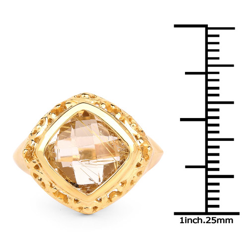 14K Yellow Gold Plated 3.86 Carat Genuine Golden Rutile .925 Sterling Silver Ring