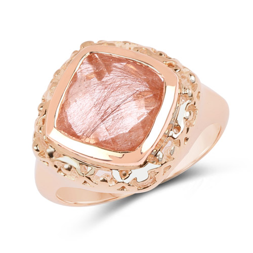 Rings-14K Rose Gold Plated 3.25 Carat Genuine Pink Rutile .925 Sterling Silver Ring