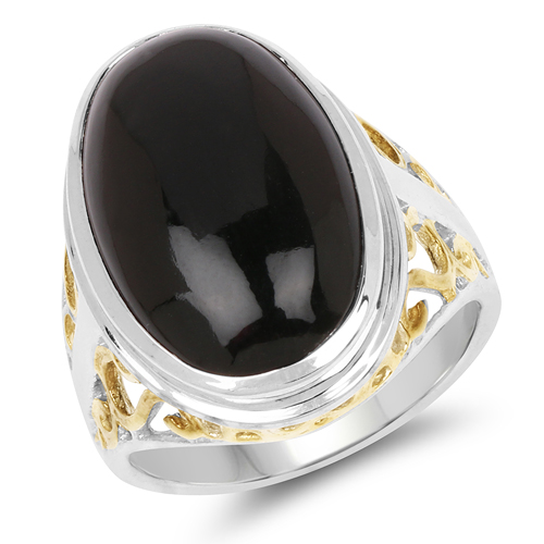 Rings-Two Tone Plated 10.92 Carat Genuine Black Onyx .925 Sterling Silver Ring