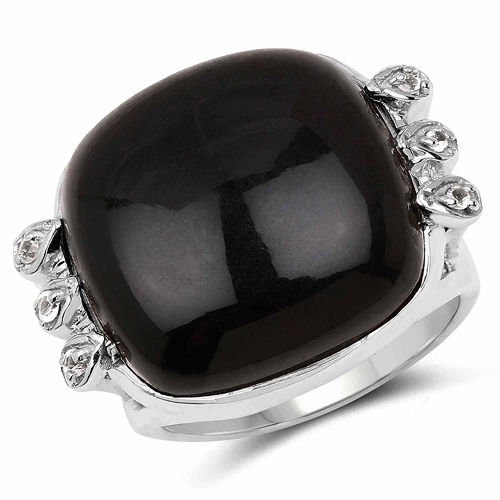 Rings-14.04 Carat Genuine Black Onyx & White Topaz .925 Sterling Silver Ring