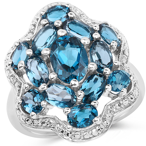 Rings-3.72 Carat Genuine London Blue Topaz .925 Sterling Silver Ring