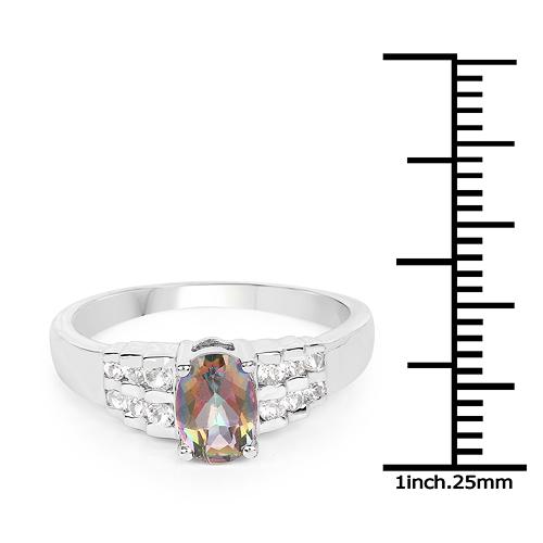 1.19 Carat Genuine Mystic Quartz& White Topaz .925 Sterling Silver Ring
