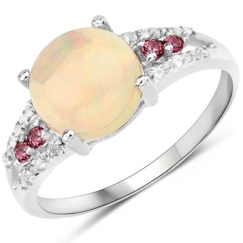 Opal-2.05 Carat Genuine Ethiopian Opal, Pink Tourmaline and White Topaz .925 Sterling Silver Ring