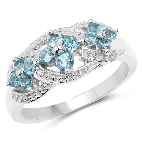 Rings-0.66 Carat Genuine London Blue Topaz .925 Sterling Silver Ring