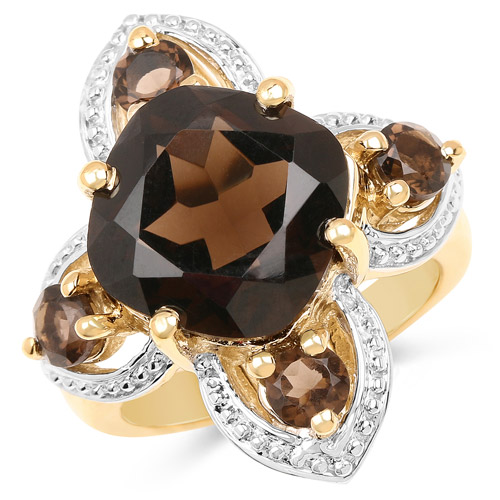 Rings-14K Yellow Gold Plated 5.92 Carat Genuine Smoky Quartz .925 Sterling Silver Ring