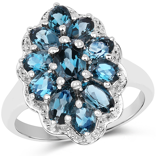 Rings-2.82 Carat Genuine London Blue Topaz .925 Sterling Silver Ring