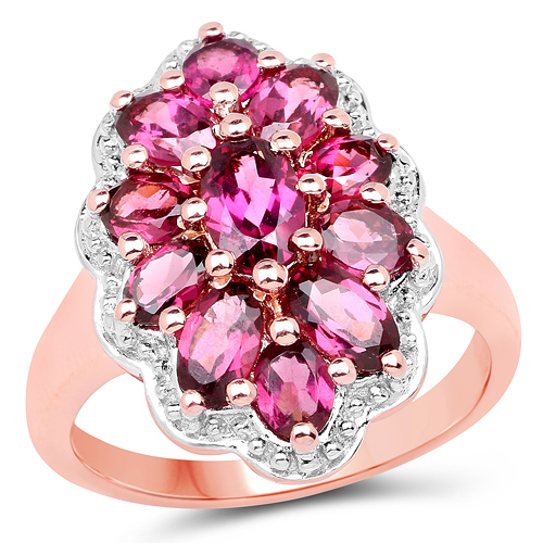 Rhodolite-14K Rose Gold Plated 2.90 Carat Genuine Rhodolite .925 Sterling Silver Ring