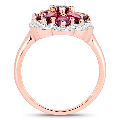 14K Rose Gold Plated 2.90 Carat Genuine Rhodolite .925 Sterling Silver Ring