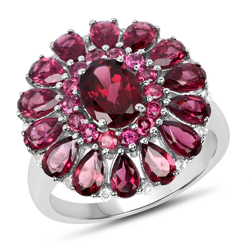 Rhodolite-6.19 Carat Genuine Rhodolite and White Topaz .925 Sterling Silver Ring