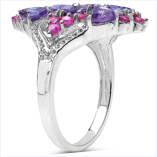 2.58 Carat Genuine Amethyst & Ruby .925 Sterling Silver Ring