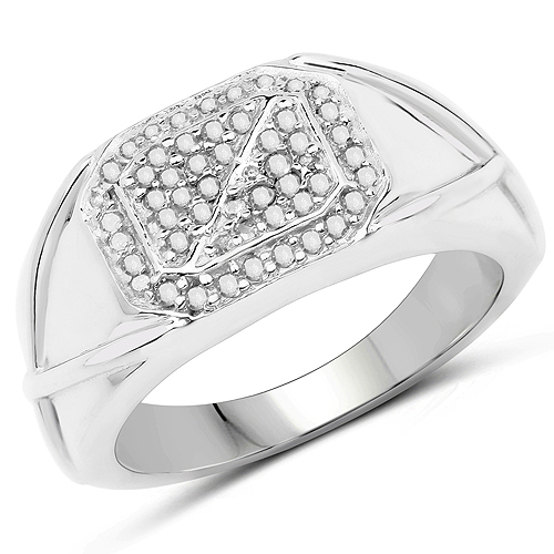 Diamond-14K White Gold Plated 0.24 Carat Genuine White Diamond .925 Sterling Silver Ring