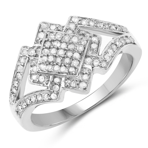 Diamond-14K White Gold Plated 0.32 Carat Genuine White Diamond .925 Sterling Silver Ring