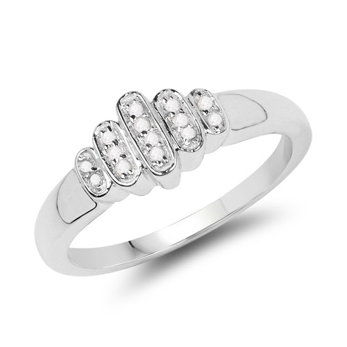 Diamond-14K White Gold Plated 0.10 Carat Genuine White Diamond .925 Sterling Silver Ring