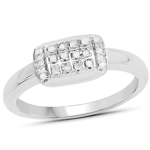Diamond-14K Yellow Gold Plated 0.12 Carat Genuine White Diamond .925 Sterling Silver Ring