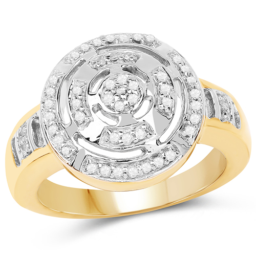 Diamond-14K Yellow Gold Plated 0.21 Carat Genuine White Diamond .925 Sterling Silver Ring
