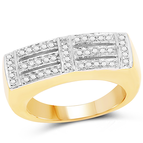 Diamond-14K Yellow Gold Plated 0.25 Carat Genuine White Diamond .925 Sterling Silver Ring