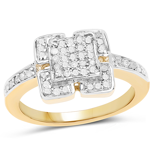 Diamond-14K Yellow Gold Plated 0.24 Carat Genuine White Diamond .925 Sterling Silver Ring