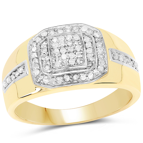 Diamond-14K Yellow Gold Plated 0.29 Carat Genuine White Diamond .925 Sterling Silver Ring