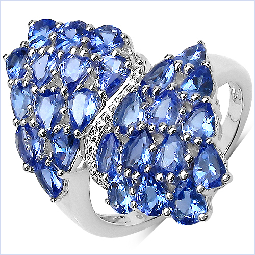 Tanzanite-3.64 Carat Genuine Tanzanite .925 Sterling Silver Ring