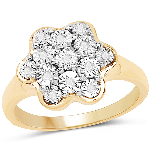 Diamond-14K Yellow Gold Plated 0.07 Carat Genuine White Diamond .925 Sterling Silver Ring