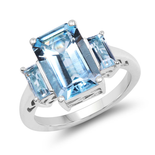 Rings-4.84 Carat Genuine Blue Topaz .925 Sterling Silver Ring