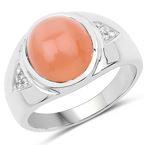Rings-6.59 Carat Genuine Peach Moonstone and White Topaz .925 Sterling Silver Ring