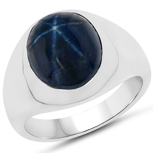 Sapphire-7.10 Carat Genuine Star Sapphire .925 Sterling Silver Ring