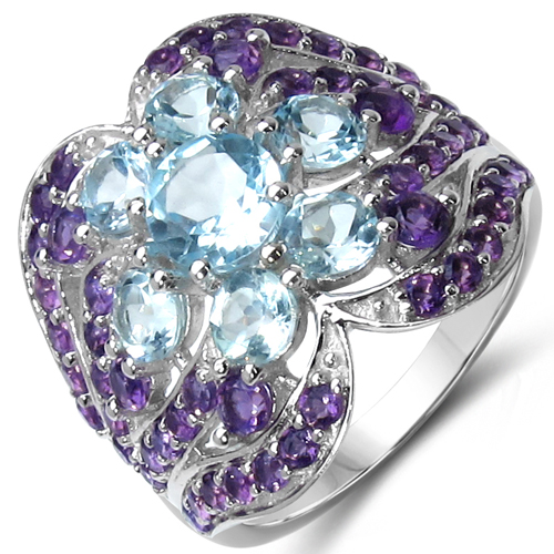 Rings-14K Yellow Gold Plated 4.58 Carat Genuine Amethyst & Blue Topaz .925 Sterling Silver Ring