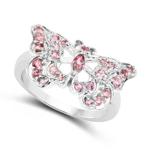 0.83 Carat Genuine Pink Tourmaline .925 Sterling Silver Ring