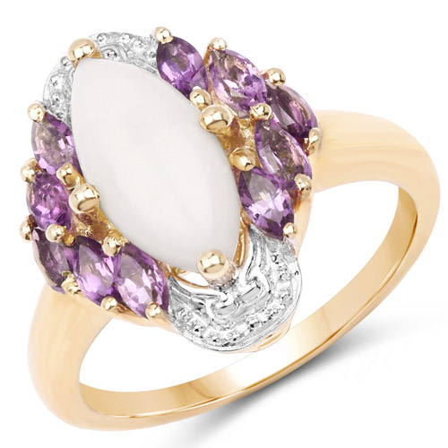 Opal-14K Yellow Gold Plated 2.00 Carat Genuine Opal and Amethyst .925 Sterling Silver Ring