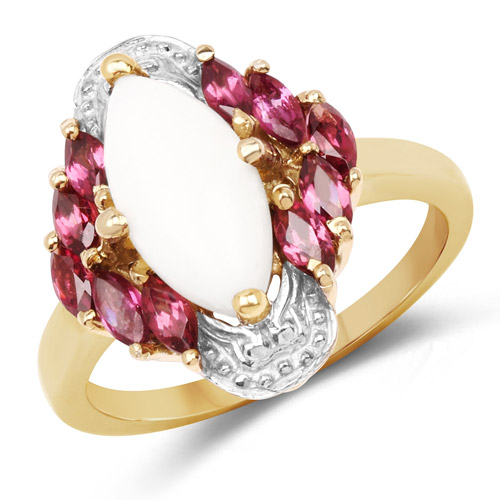 Opal-14K Yellow Gold Plated 1.90 Carat Genuine Opal and Rhodolite .925 Sterling Silver Ring