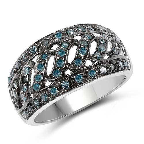 Diamond-0.60 Carat Genuine Blue Diamond .925 Sterling Silver Ring
