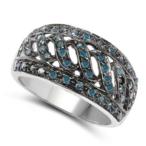 0.60 Carat Genuine Blue Diamond .925 Sterling Silver Ring