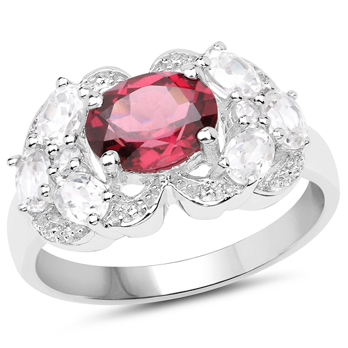 Rhodolite-3.16 Carat Genuine Rhodolite and White Zircon .925 Sterling Silver Ring