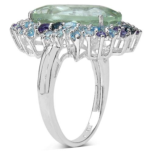 7.46 Carat Genuine Multi Stone .925 Sterling Silver Ring