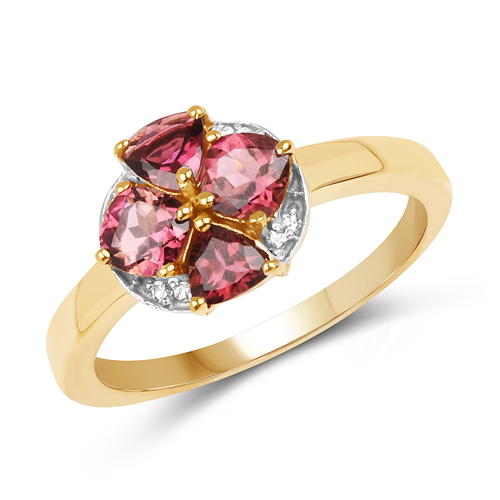 Rings-14K Yellow Gold Plated 0.94 Carat Genuine Pink Tourmaline & White Topaz .925 Sterling Silver Ring